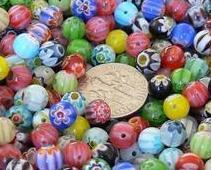 6mm Round MIX Millefiori Glass Beads - Qty 50