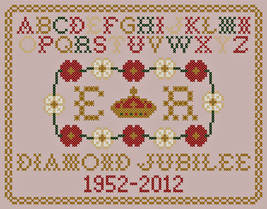 Queen Elizabeth Jubilee Sampler PDF cross stitch chart John Shirley new designer - $89,02 MXN