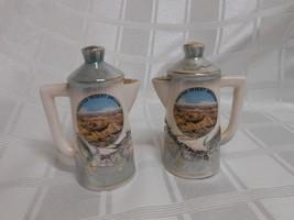 Dragonware Light Green & Cream Lusterware Coffee Pot Shape Salt & Pepper... - $11.50