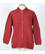 Vtg 1990s Red Merino Wool Cable Knit Full Zip Fisherman Sweater Jumper W... - $24.74