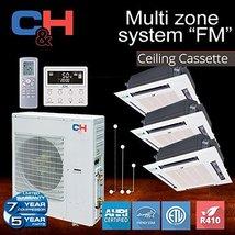 C&H +Multi Tri-Zone System with Ceiling Cassette 30,000 BTU Inverter Hea... - $4,098.56