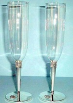 Kate Spade June Lane Champagne Flute Pair Crystal/Silverplate/Dragonfly - $78.90