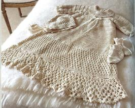 Christening Gown~Hat~Booties & Afghan Crochet Pattern~52 Quick Crochet Projects - $39.99