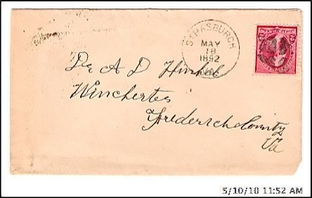 Primary image for 1892 Strasburgh VA Discontinued/Defunct (DPO) Post Office Postal Cover
