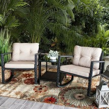 Modern Set of 3 pcs Patio Rocking Chair Wicker Rattan Bistro Outdoor Fur... - $195.87