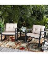Modern Set of 3 pcs Patio Rocking Chair Wicker Rattan Bistro Outdoor Fur... - $195.87