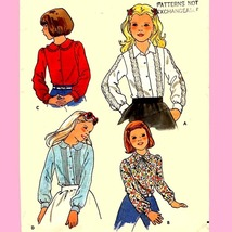 419 DARLING BLOUSE WITH OPTIONS, GIRLS size 12, VINTAGE SEWING PATTERN - $2.95