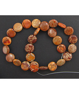 "Orange Variscite 14mm Coin Disc Beads - 16"" Strand Gemstone - $6.98"