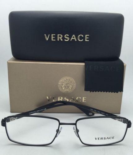 ab5a517046 ... New VERSACE Eyeglasses 1198 1261 55-17 Black Rectangular Frames with  Demo Lenses ...