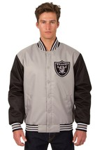 NFL Las Vegas Raiders  Poly Twill Jacket Charcoal Black Two Patches Logos  JH D - $129.99