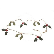 """Holly & Mistletoe Garland, Made of Tin & Jute with Red Berries, 48"""" Long - $24.82"""