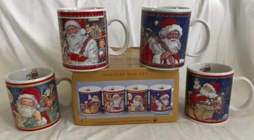 Primary image for 4 JC Penney United Way Christmas Holiday Mug Cup Set Betty Whiteaker Art Santa