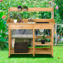 Potting Table Bench Garden Planting Wood Work Station Shelves Outdoor In... - $132.27