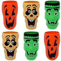 Gift Boutique 20 Oz. Halloween Cups Plastic Character 3-D Set of 6 Trick... - $16.88