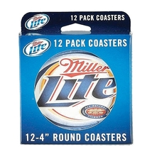 Miller Lite 12 Pack 4 Inch Round Coasters  - $7.99