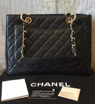 AUTHENTIC CHANEL QUILTED CAVIAR GST GRAND SHOPPING TOTE BAG BLACK GHW image 2