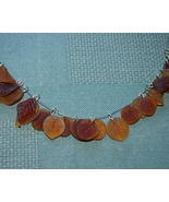 Brown and Amber Glass Leaf Charms - Qty 30 - $4.50