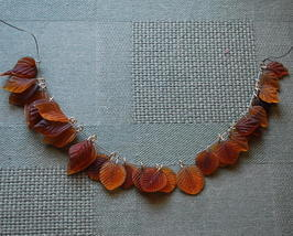 Brown and Amber Glass Leaf Charms - Qty 30