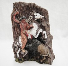 """Old West Visions Native Buffalo Hunter on Horse with Spear Figurine 7"""" V... - $26.72"""