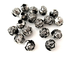 Antiqued Rose 10mm Silver Beads w/ Large Holes ~ Qty 6