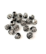 Antiqued Rose 10mm Silver Beads w/ Large Holes ~ Qty 6 - $3.25