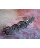 "silver glitter collar with big rhinestone studs blue / clear - 8-10"" dog  - $7.00"