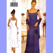 642 WOMENS PRINCESS SEAMED DRESS & SCARF size 6 to 10, SEWING PATTERN UNCUT - $8.95