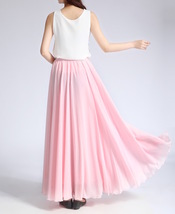 Pink MAXI CHIFFON SKIRT Women High Waisted Chiffon Maxi Skirt Plus Size image 10