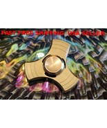 Tri Fidget Hand Spinner Triangle Brass Metal GOLD Finger Toy EDC Focus ADHD - $12.19