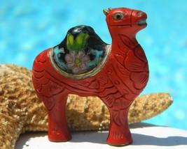 Vintage Camel Cinnabar Cloisonne Focal Bead Pendant China - $39.95