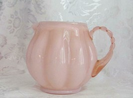 Vintage Fenton Art Glass Rose Pink Overlay Melon Squat Jug - $55.50