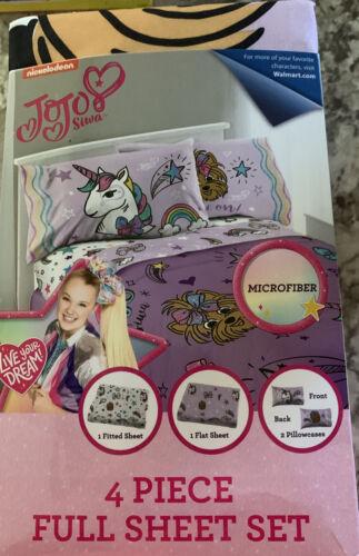 JoJo Siwa Full Sheet Set 4 Piece Microfiber Pink Nickelodeon  - $29.09