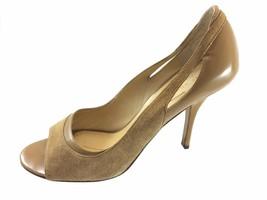 SH17 Kate Spade 8.5B Tan Suede Patent Leather Peep Toe Pumps Heels Italy - $34.64