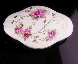 Elegant  large signed Trinket box - Porcelain rose jewelry Box - Gold Gi... - $55.00