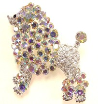 Clear AB Swarovski Crystal Poodle Brooch Pin - $27.99