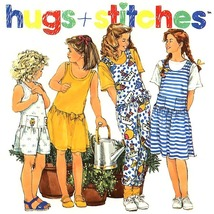 775 GIRLS TOP JUMPERS JUMPSUITS, sz 7-10 VINTAGE HUGS & STITCHES SEWING ... - $5.65