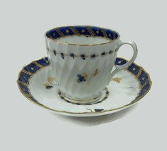 Antique 18th Century Worcester White Fluted Porcelain Cup & Saucer Cobal... - $88.83