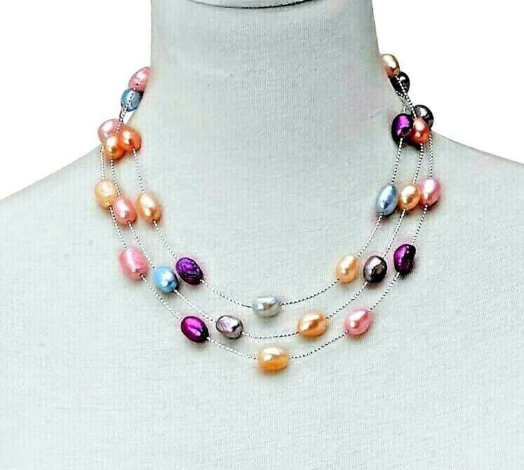 """Freshwater Multi Color Pearl Triple Strand Necklace in Sterling Silver 18"""""""