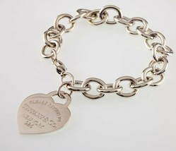 """Tiffany & Co. Sterling Silver """"Return to"""" Heart Tag Bracelet Large Size ... - $356.40"""
