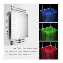 "40"" Luxury Big LED Shower Head With 4 Arms Top 304 Stainless Steel Brushed SUS30 - $1,425.55"