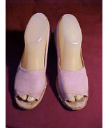 """Jacques Cohen 'Nevada'; Size 6-7;Lilac Canvas;2""""Fiber Wedge Heels;Made I... - $9.99"""