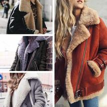 New Fake Fur Jacket Fashion Fur Cotton Leather Inside Sheepskin Women Motorcycle