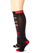 Anne Klein Stripe 2 Pairs of Women's Knee High Socks - One Size - Premium Blend