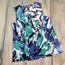 ANN TAYLOR size 4 pleated front neck silky like printed career work top ... - $5.94