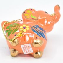 Handcrafted Painted Ceramic Peach Pink Elephant Confetti Ornament Made in Peru image 5