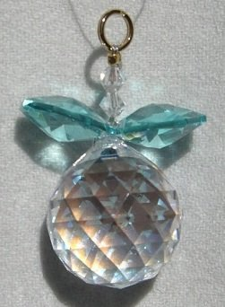 J'Leen Aurora Borealis Ball with Seafoam Leaves Crystal Berry Ornament