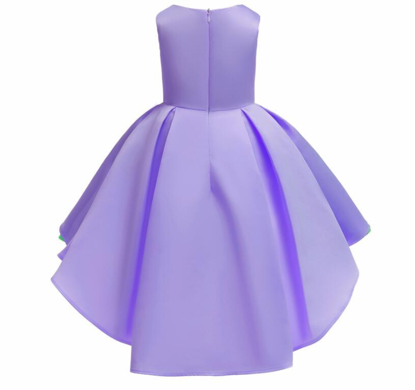 Sexy Purple Satin Embroidery Short Flower Girl Dress  Sleeve Formal  Party Gowns