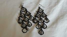 "4""VINTAGE Black Gunmetal Chandelier Silver Crystal Dangle Hook Earrings,Unsigned - $7.12"