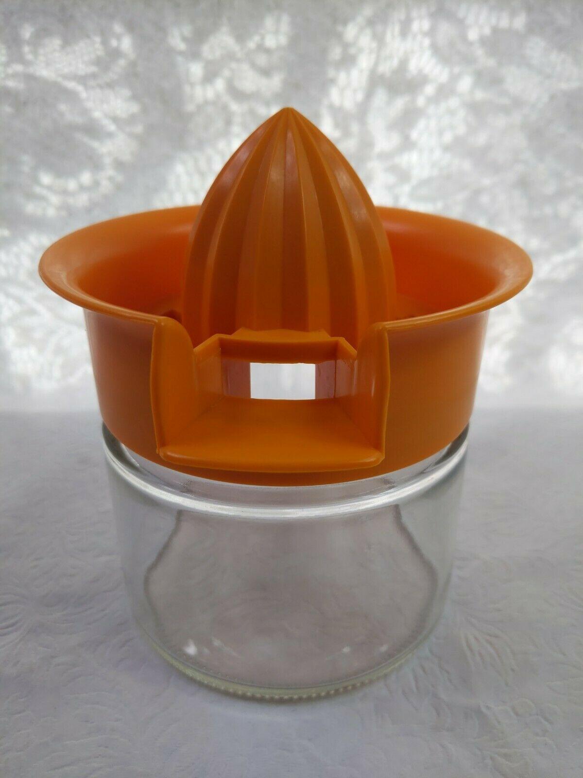 VTG GEMCO Citrus Reamer JUICER with ORANGE Plastic Top Glass Bottom Vintage - $14.85