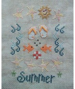 Summer flip flops fish shells PDF cross stitch charts Helga Mandl Designs - $5.00